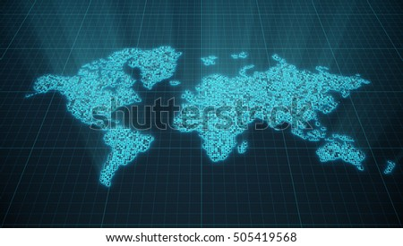 Abstract technology digital world map blue stock illustration abstract technology digital world map with blue light glow illuminate background futuristic hud concept gumiabroncs Images