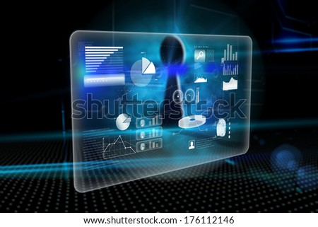 Abstract technology interface against keyhole on technological background - stock photo