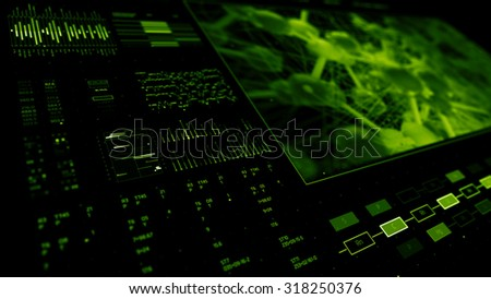 abstract technology interface background with a lot of digits and analysing graphs elements