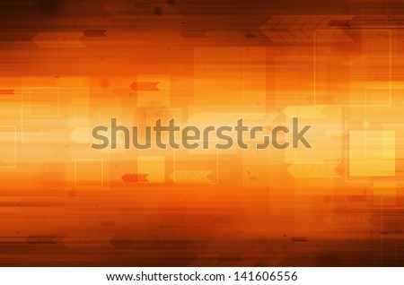 Abstract technology on orange background.