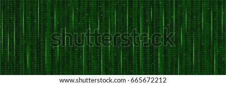 Abstract Technology Pattern. Stream of  Binary Computer Code. Computer Matrix Background. Raster Illustration