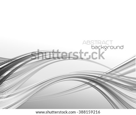 Abstract template background with curved wave.  Wavy lines. Gray wave