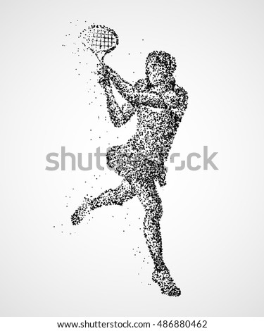 Abstract tennis player of black circles. Photo illustration.