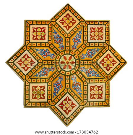 Abstract texture, ancient  tile wall decoration arabian style   - stock photo