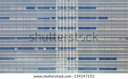 abstract texture of blue glass modern building - stock photo