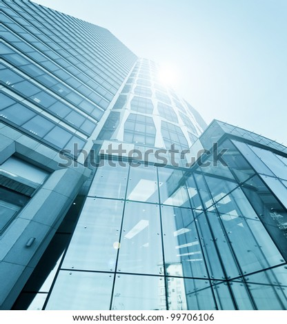 abstract texture of blue glass modern building skyscrapers - stock photo