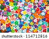 Abstract texture of plastic flowers. landscape interior. - stock