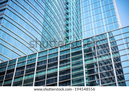 abstract texture of the blue office building,modern glass skyscraper closeup  - stock photo