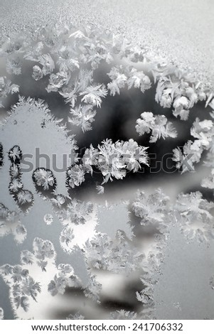 Abstract texture, pattern frost on the window, view macro. Shallow dof - stock photo