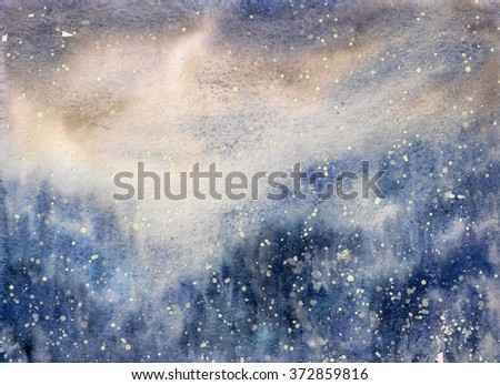 Abstract texture snowy blizzard winter watercolor painted. - stock photo
