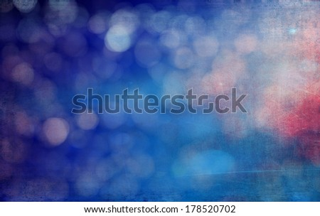 Abstract textured background: blue, red, and white patterns. For art texture, grunge design, and vintage paper / border frame - stock photo