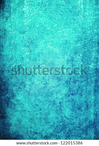Abstract textured background: dark patterns on blue backdrop. For art texture, grunge design, and vintage paper / border frame