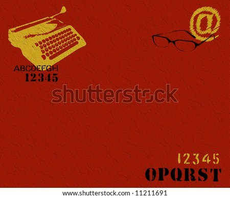 Abstract textured illustration with typewriter shape, letters, numbers and glasses - stock photo