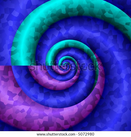 Abstract textured spiral in cool colors of blue, aqua and purple.