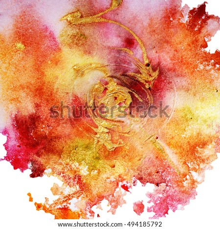 Abstract textured watercolor background, hand painted, red and yellow colors