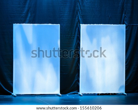 Abstract theatrical scenery stand on the stage with blue illumination - stock photo