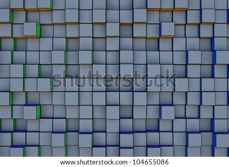 abstract  three-dimensional cubes block of grey background - stock photo