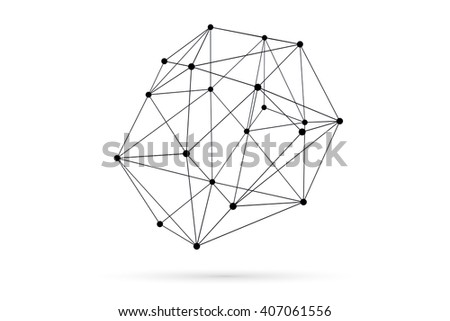 Abstract three dimensional network concept wireframe sphere with shadow on white background - stock photo