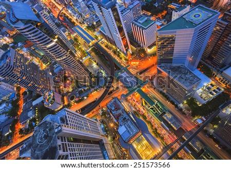 Abstract topview of building, Bangkok, Thailand - stock photo