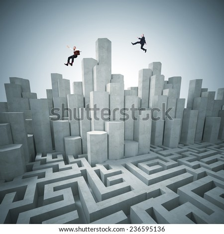 abstract tower and maze 3d with business people - stock photo