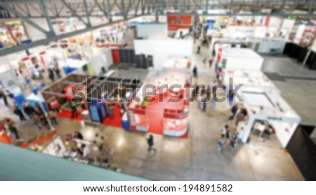 Abstract trade show panoramic view, intentionally blurred post production - stock photo