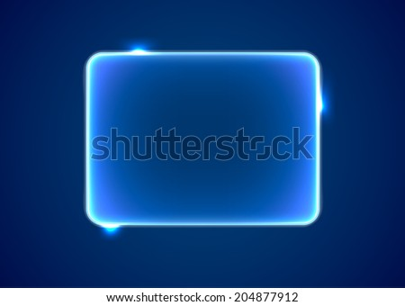 Abstract transparent blue rectangle with lights and sparkles - stock photo