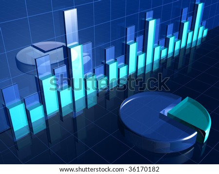 Abstract transparent financial chart and pie chart 3d illustration - stock photo