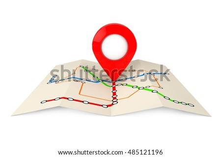Abstract Transportation Metro or Subway Map with Red Target Pin on a white background. 3d Rendering