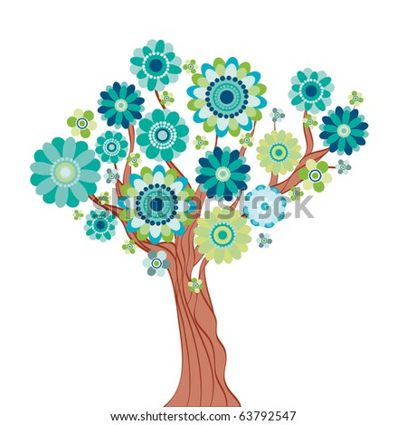 Abstract tree made of flowers. - stock photo
