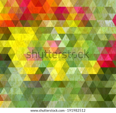 Abstract Triangle Geometrical Multicolored Old Style Background, Raster Version - stock photo