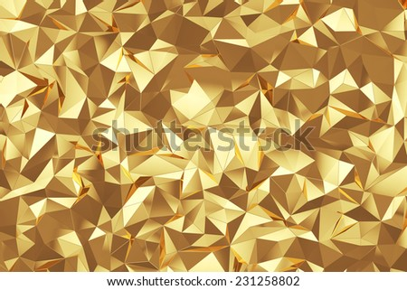 Abstract triangle gold background texture - stock photo
