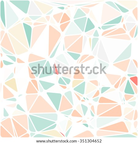 Abstract Triangle Polygonal Geometrical Background,  Illustration. Geometric design frame for business presentations, flyers, banners, brochures, leaflets, web. Pale pink, orange, green - stock photo