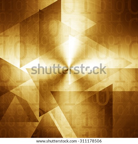 Abstract triangle with binary code - stock photo