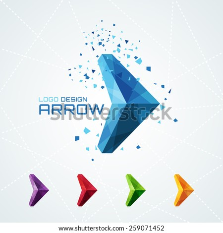 Abstract triangular arrow logo or sign or symbol - stock photo