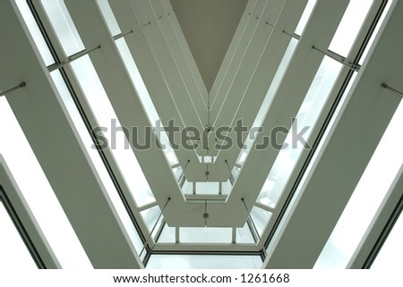 Abstract triangular building architecture - stock photo