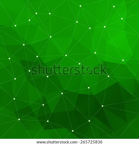 Abstract triangular green background - stock photo