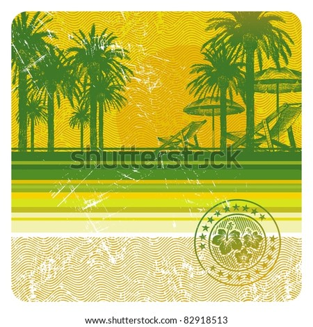 Abstract tropical beach with palms, chair and umbrella - stock photo
