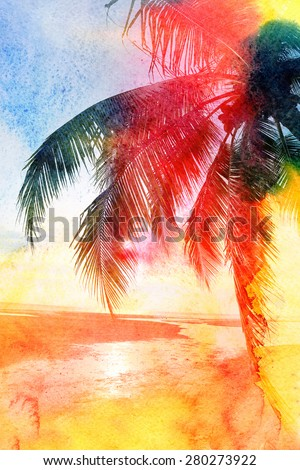 Abstract tropical landscape in jungle with palm trees - stock photo