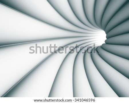 Abstract Tunnel Architecture Light Background. 3d Render Illustration