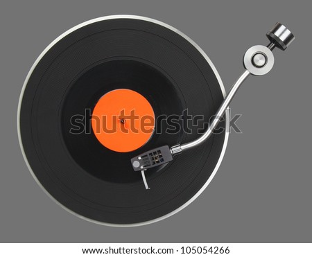 Abstract turntable part isolated on grey - stock photo