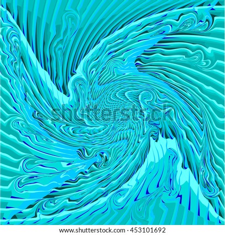 Abstract Turquoise and Blue Curved Pattern. The Distortion of Space. Striped Texture Structure. Raster 3d Illustration - stock photo