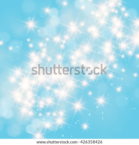 Abstract twinkled bright background with bokeh defocused blue lights. - stock photo