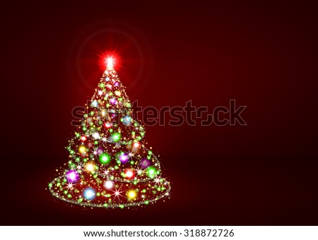 Abstract Twinkling Bright Colourful Fir Tree on Dark Red Background - Christmas Greeting Card Template - Xmas, Holiday Season, X-Mas - stock photo