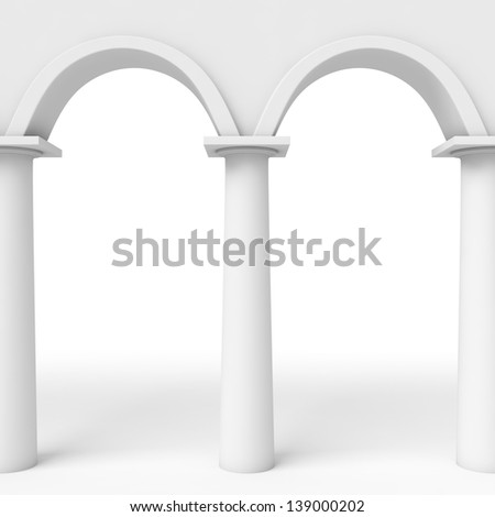 Luxurious Wall Graceful Columns Arches Stock Illustration