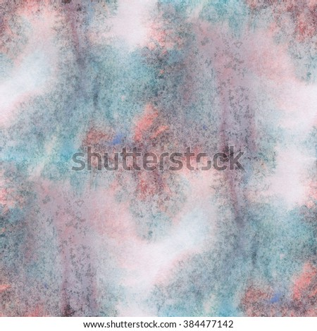 abstract  unique blue red water seamless watercolor color pattern brush painting watercolour background - stock photo