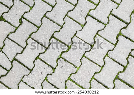 Abstract urban background texture. Green grass grows through modern gray cobblestone road pavement - stock photo