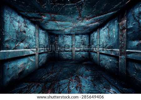 Abstract Urban Metal Interior Walls Stage Background - stock photo