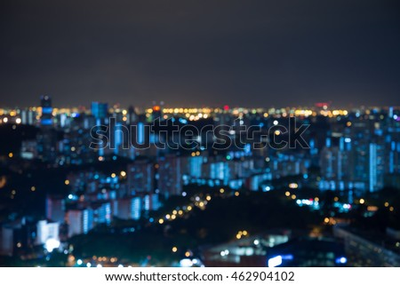 Abstract urban night light bokeh defocused background