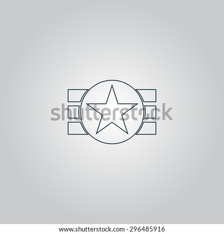 Abstract USA Flag Design. Flat web icon, sign or button isolated on grey background. Collection modern trend concept design style  illustration symbol - stock photo
