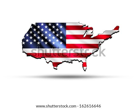 Abstract Usa Flag Map With Waving Flag Clipped Into The Country Shape Ilration